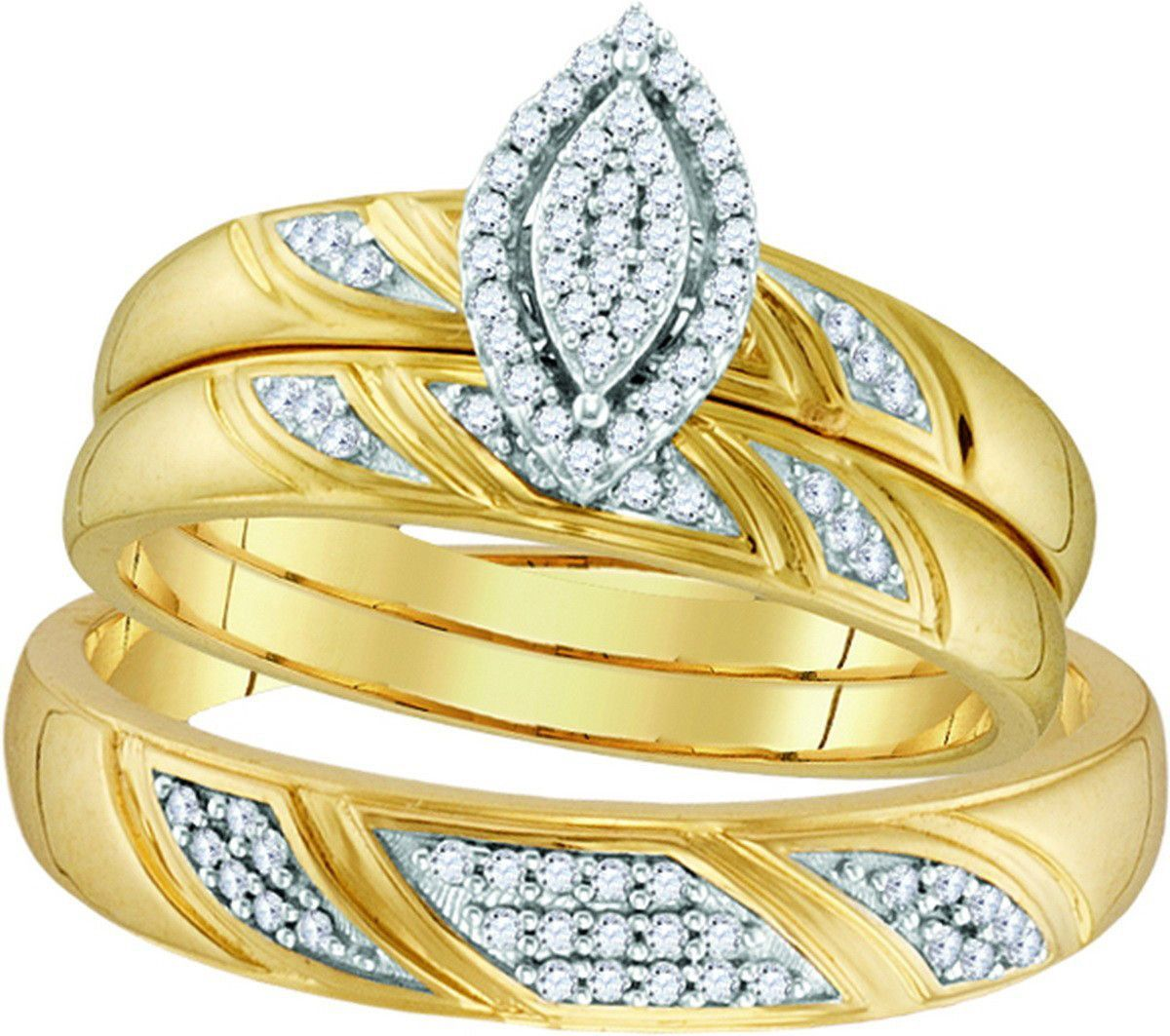 10k Yellow Gold Natural Diamond His & Hers Matching Trio