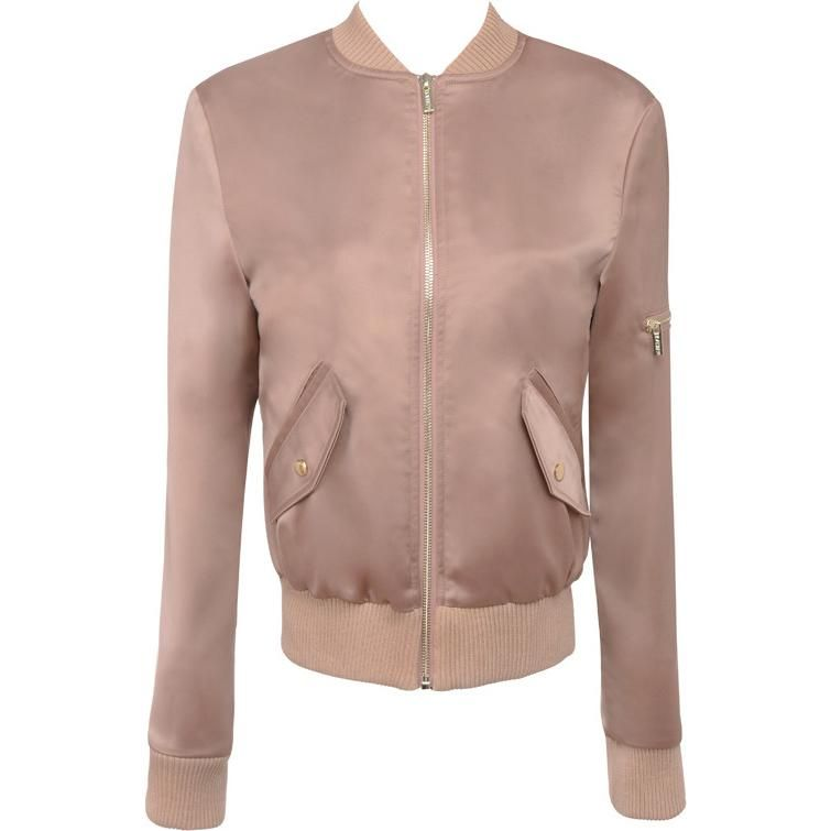 House of CB Rose Gold Satin Dena Bomber Jacket as seen on Kylie Jenner