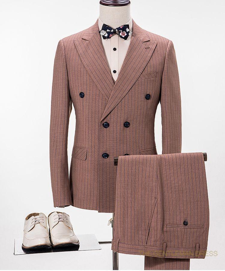 Latest Coat Pant Designs Brown Pattern Men Suit Slim Fit 3 Piece ...