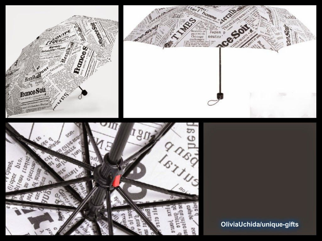 Novelties British Style English Newspaper UV Protect Manual Open Foldable Umbrella