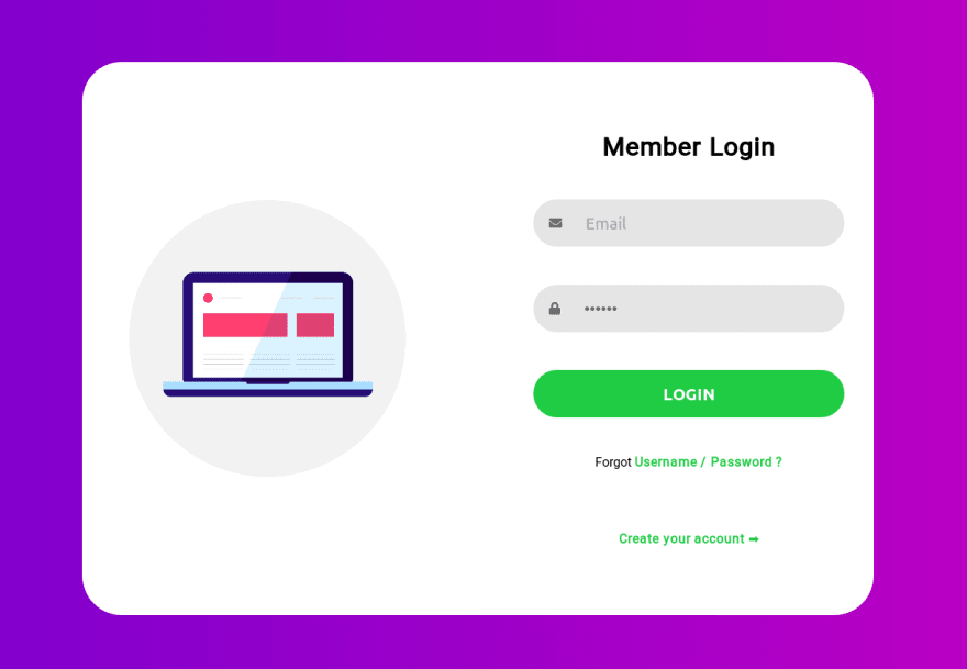 Html Css Tutorial Create A Simple Responsive Login Form Dev Community In 2020 Login Form Css Tutorial Html Css