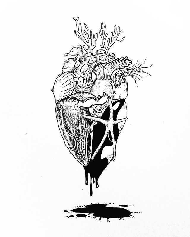 "Live Life With No Regrets Tattoo Sketches Drawing Art: ""Ocean-Heart Series No.II"" Absolutely Love This"