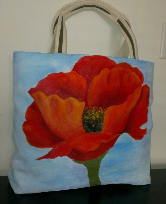 Large Hand Painted Poppy Tote wearable art by LiraLamorell on Etsy, $115.00