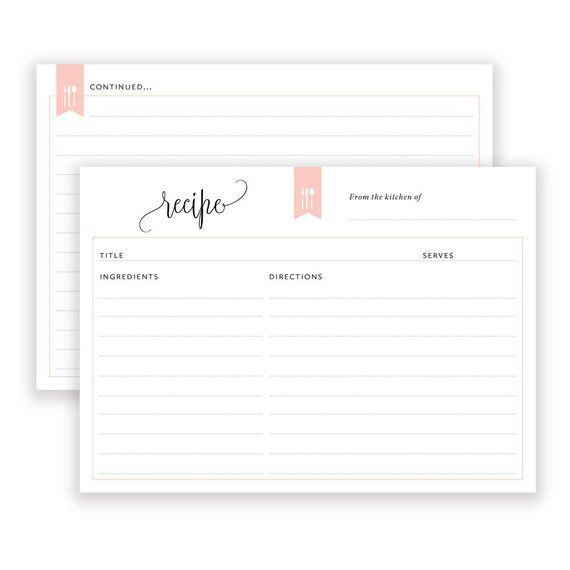 printable recipe cards black and white