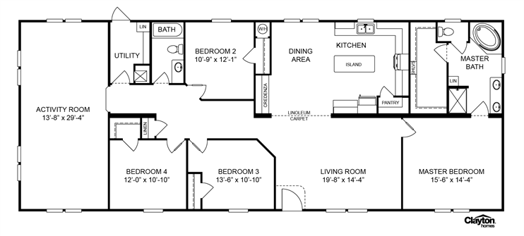Interactive Floorplan Ohio 32rvl32764ah Luv Homes Of Bryant Bryant Ar Clayton Homes Floor Plans Home