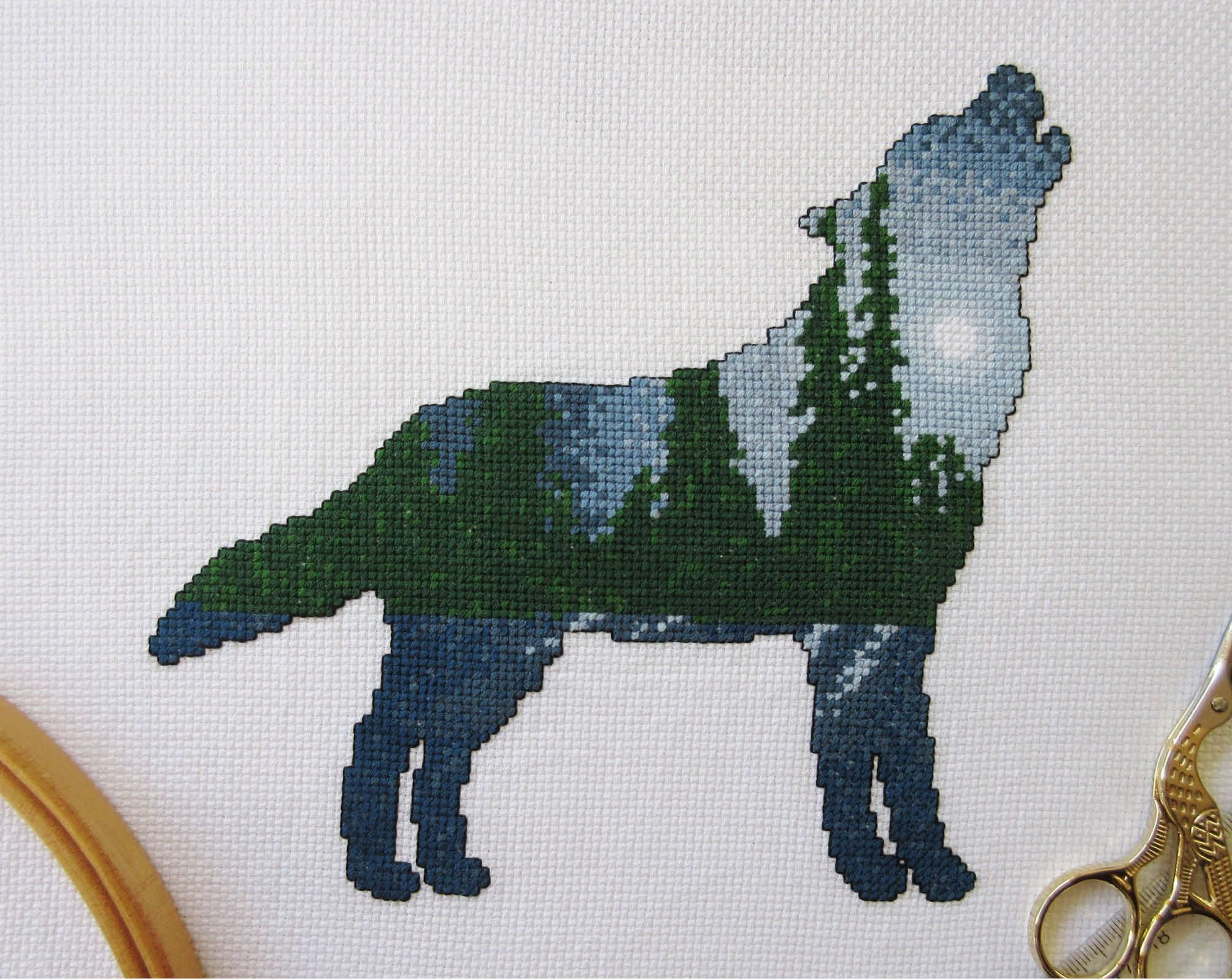 Chart Counted Cross Stitch Patterns Needlework DIY Trail Leading to Pines