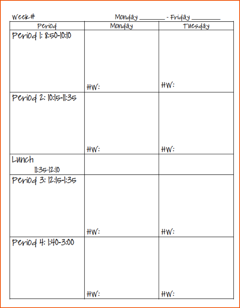 Teacher daily planner template Daily Lesson Plan Template. | School ...