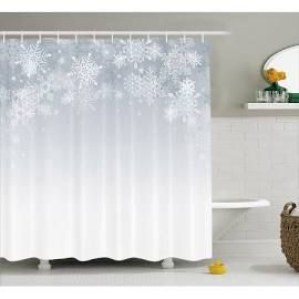 Winter Decorations Shower Curtain Christmas Back With Snowflake