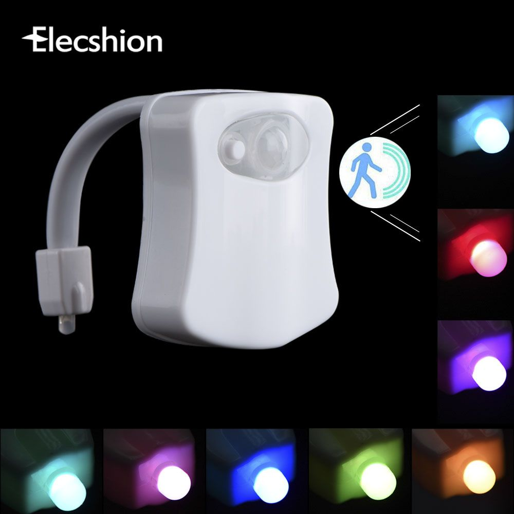 Elecshion Led Toilette Night Light Auto Human Motion Sensor Pir Salle De Bains Batterie 8 Couleurs Rgb Bol Projecteur 3d Nouveaute Lampe Night Light Night Light Lamp Light Sensor