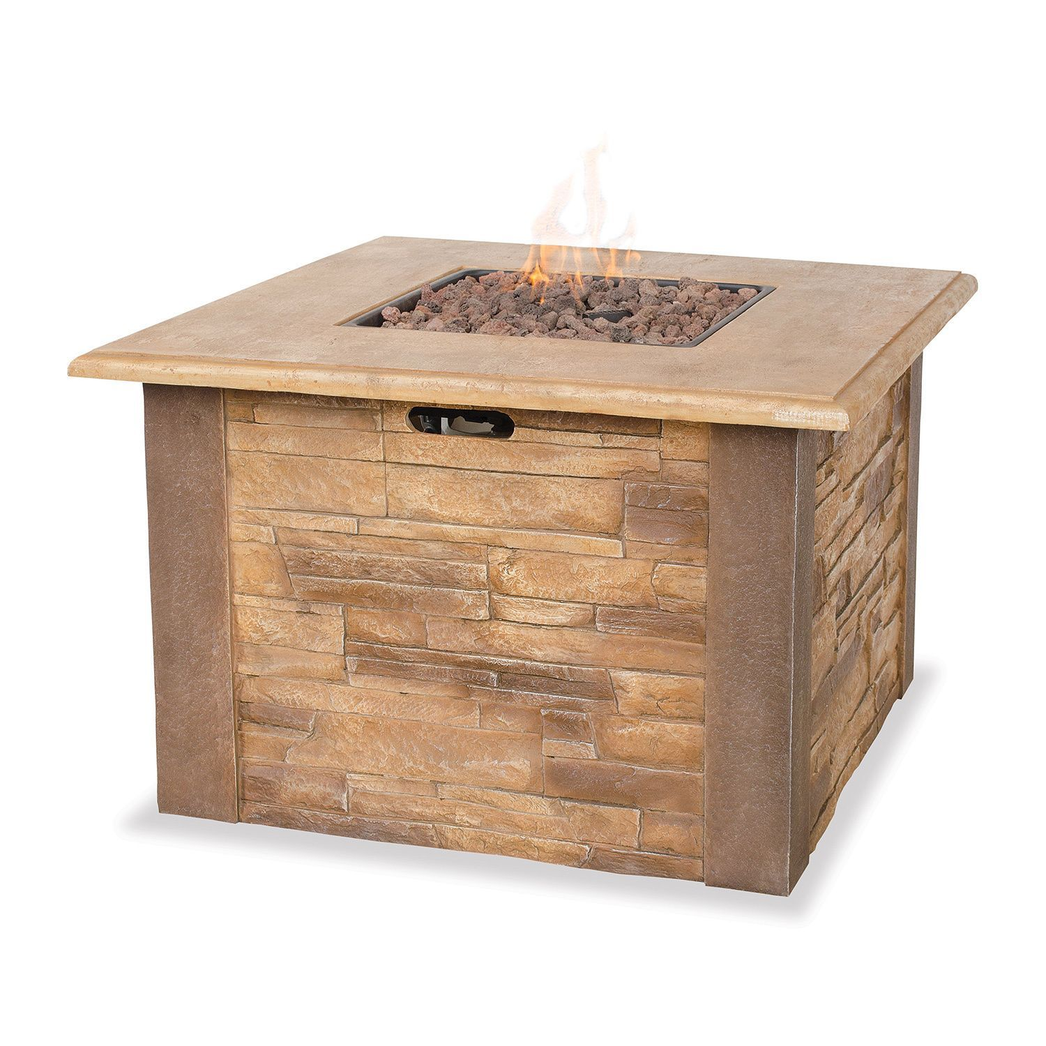 Blue rhino uf stacked stone lp gas fire pit brown outdoor décor