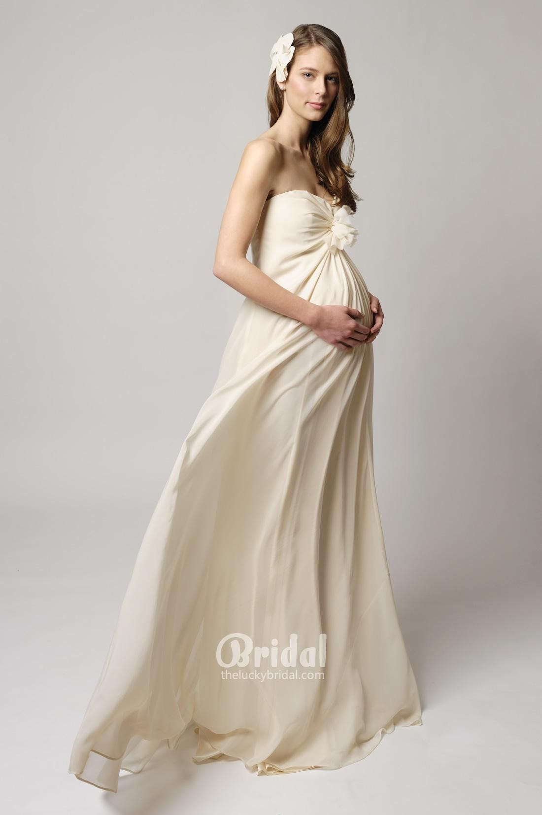 Princess strapless chiffon maternity wedding dress with gathers tina mak has just launched a beautiful bridal range of maternity bridal gowns perfect for pregnant brides but the secret is the gowns are just as suitable ombrellifo Image collections