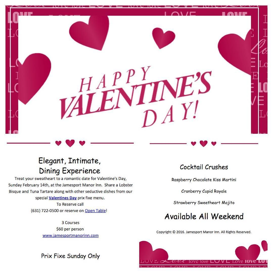 Need somewhere to take your sweetheart for Valentines? Join us Valentine's weekend for our prix fixe menu and specialty cocktails! by jamesportmanor