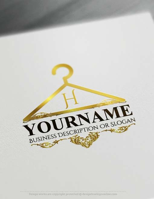 Online Free Logo Creator Stylish Hanger Logo Maker Sewing Logo Design Sewing Logo Hanger Logo