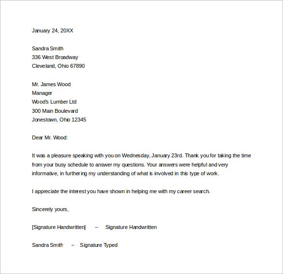 Follow Letter Potential Employer Apology Thank You After Job