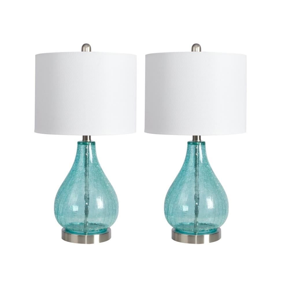 J Hunt Home 23 In Blue Rotary Socket Table Lamp With Linen Shade Set Of 2 Lowes Com Blue Glass Lamp Beach Room Decor Lamp
