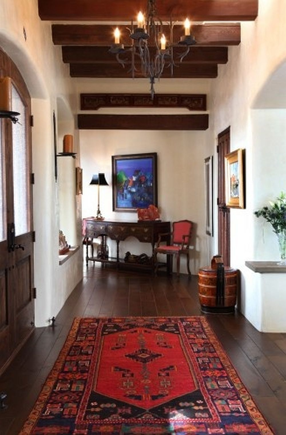 Dark Floors With Oriental Rugs White Walls Spanish Colonial