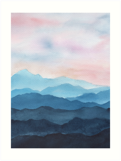 'Blue Abstract Mountains' Art Print by gusstvaraonica