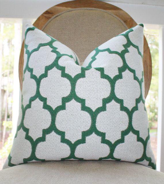 35 00 Emerald Green Quatrefoil Pillow Cover Green