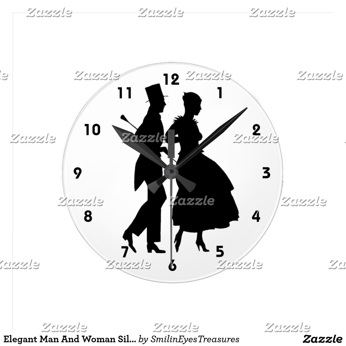 Elegant Man And Woman Silhouettes Round Clock.  From Smilin' Eyes Treasures at Zazzle.