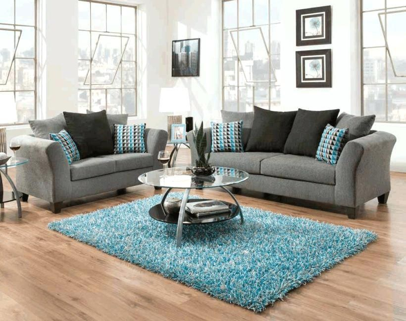 Awesome Turquoise And Grey Living Room Fur Rug