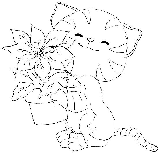 a cat carrying a vase of flowers coloring pages
