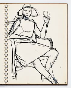 Diebenkorn, Pen and ink, Page 15 from Sketchbook # 13 [seated woman with hat…