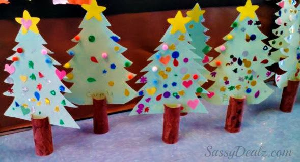 DIY Toilet Paper Roll Christmas Tree Craft For Kids