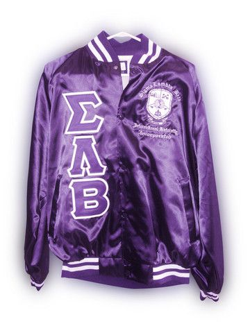 SLB Satin Baseball Jacket | Sigma Lambda Beta | Greek Divine and ...