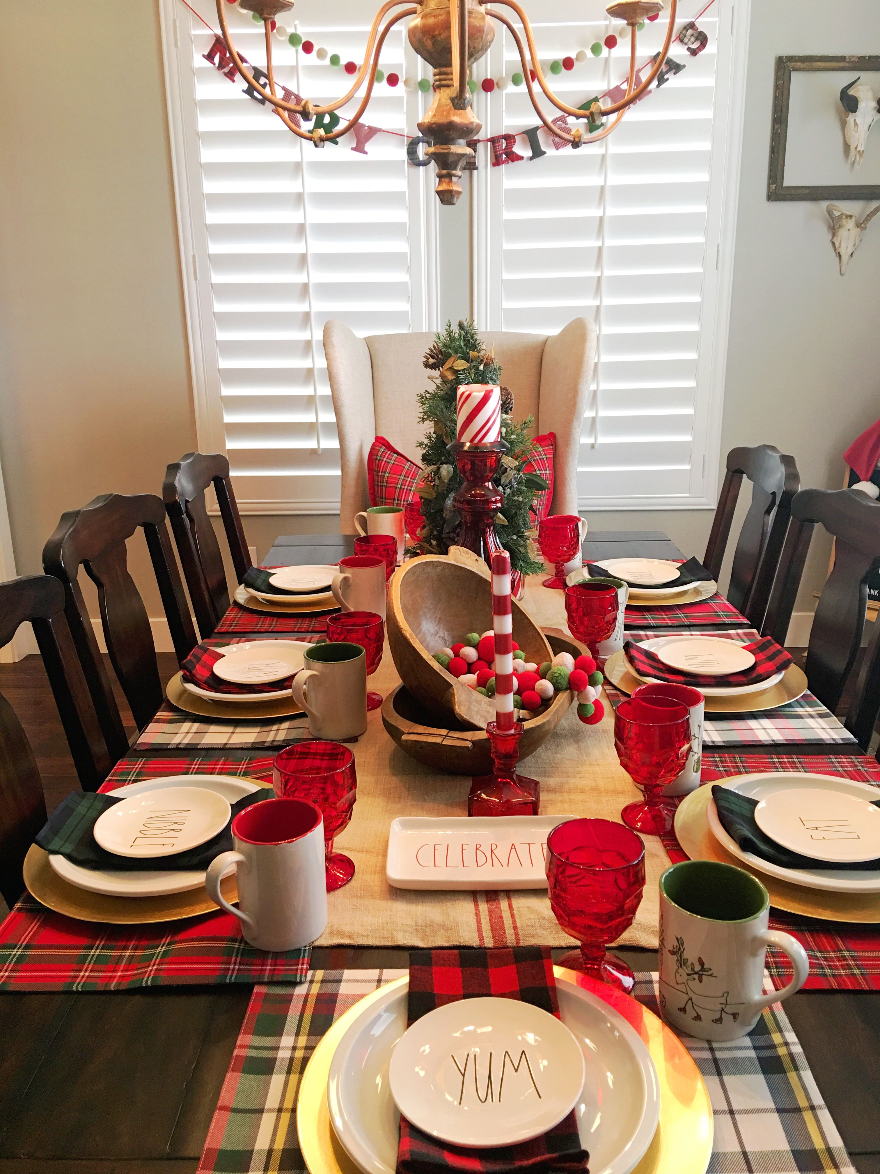Christmas Table Setting #Potterybarn #Plaid #Duffyhouse #Chalkandfable #Linen #Retorationhardware