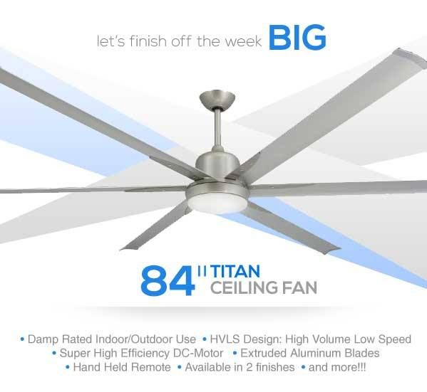 Troposair Titan Brushed Nickel Large Industrial Ceiling Fan With