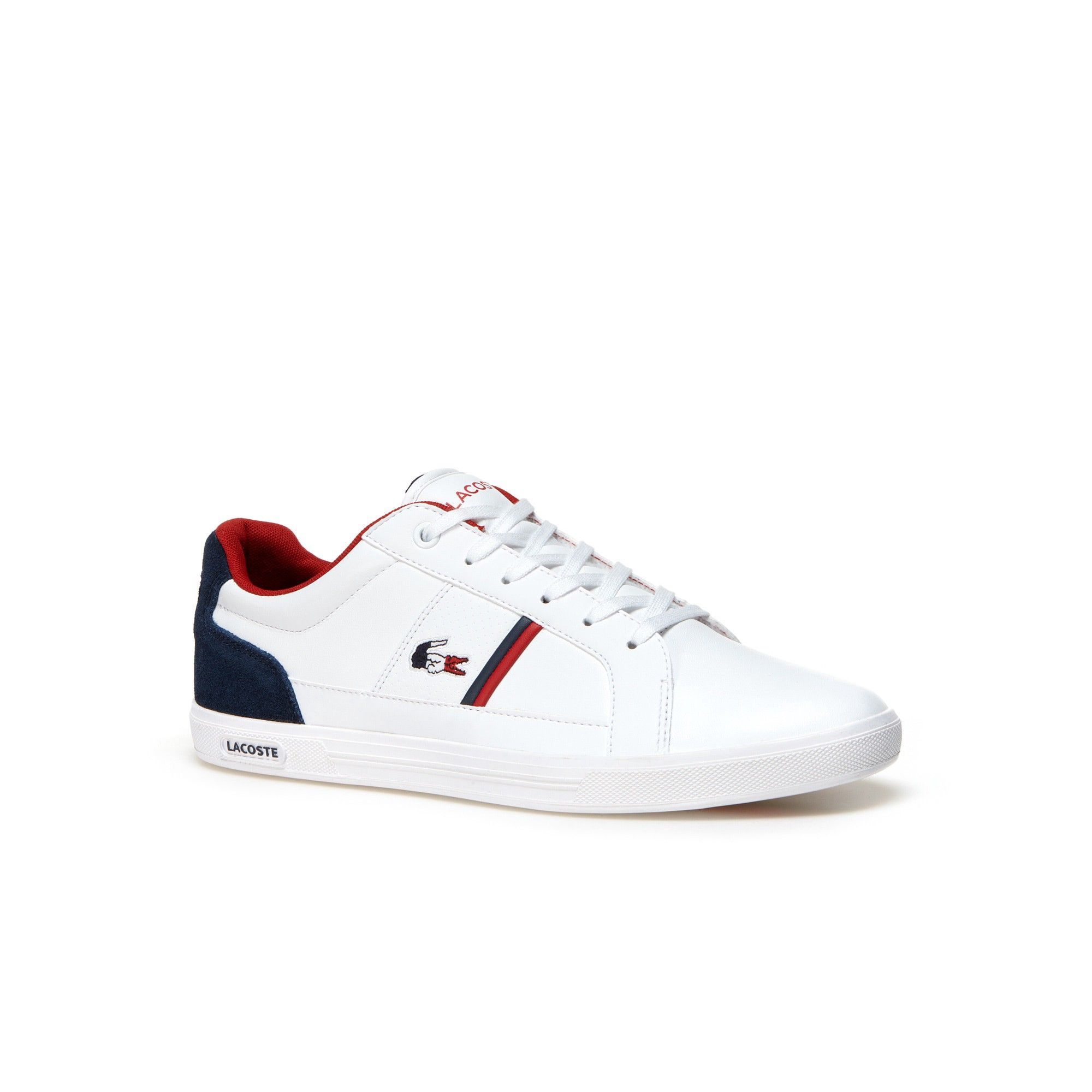 Lacoste Men S Europa Leather Sneakers White Navy Modesens Sneakers Men Fashion Lacoste Shoes Mens Lacoste Shoes
