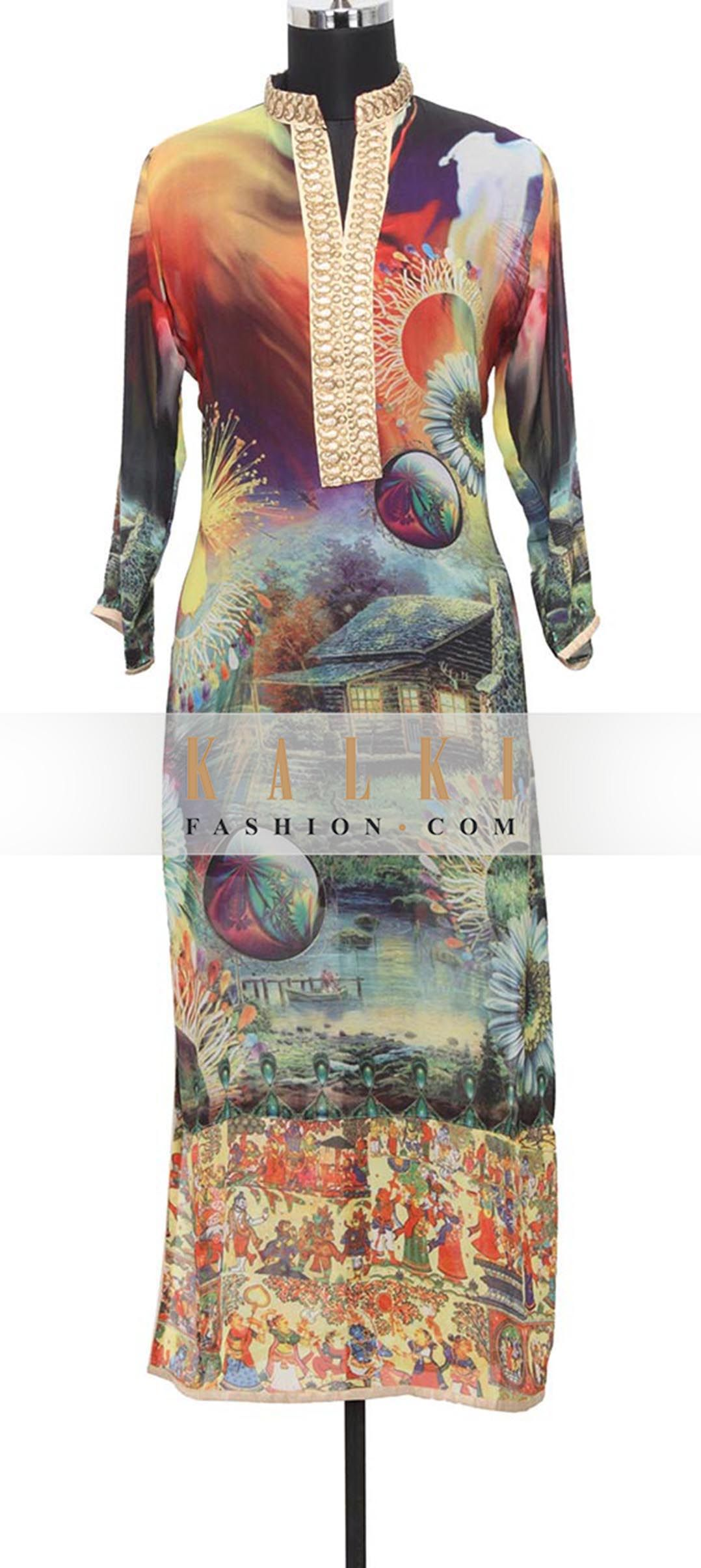 Buy Online from the link below. We ship worldwide (Free Shipping over US$100)  http://www.kalkifashion.com/multi-colored-georgette-kurti-in-digital-print-only-on-kalki.html