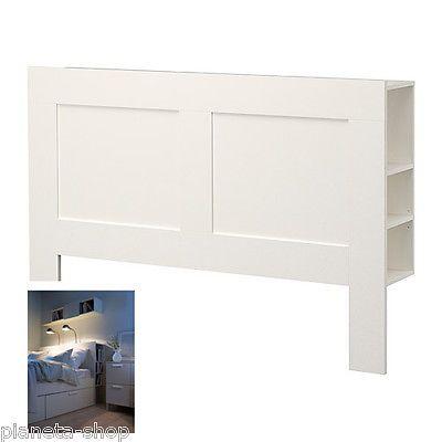 Testiera letto con contenitore bianco 166 x 111 x 28 cm for Scarpiera malm ikea