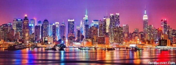 Colorful New York City Facebook Covers Facebook Covers Photos Timeline Covers Photos Facebook Banners Fa City Skyline Wallpaper Night Skyline City Skyline