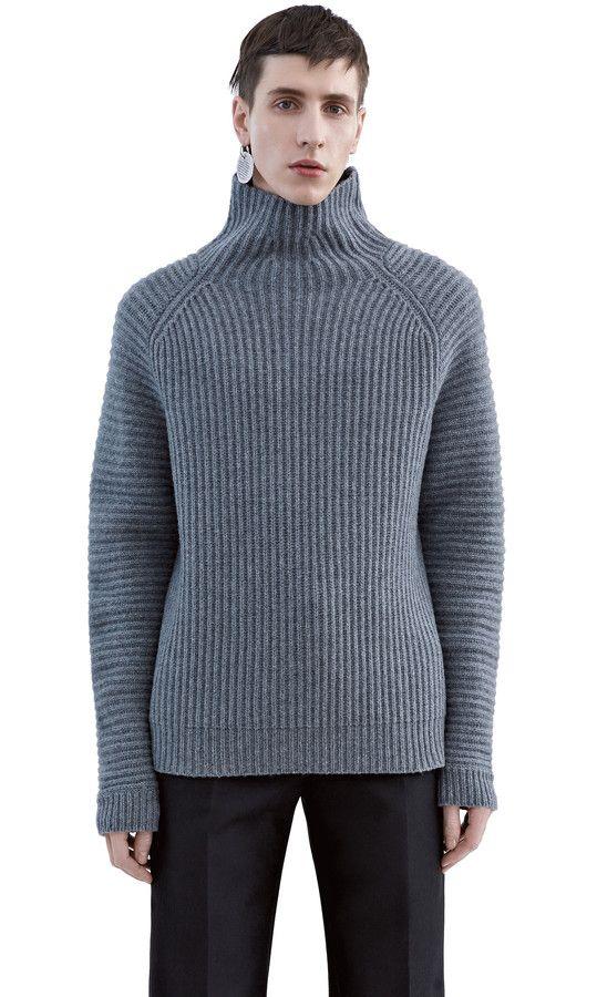 Acne Studios Jayden Grey Melange Chunky Turtleneck Knit Knitwear