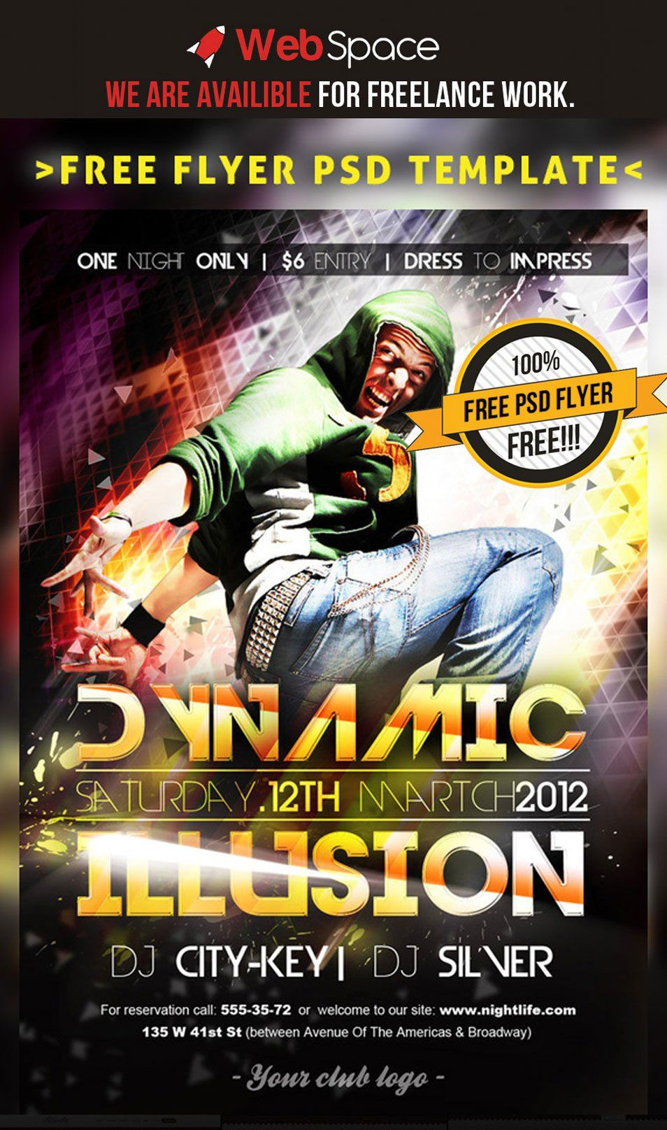 Free flyer or poster PSD Template Dynamic Illusion | Poster | Free