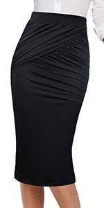 8120264f30 Amazon.com: VfEmage Womens Elegant Ruched Frill Ruffle High Waist Pencil Mid -Calf Skirt 2620 Leo S: Clothing