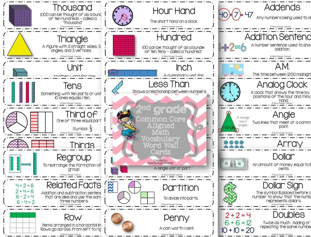 Second Grade CCSS Math Vocabulary Word Wall Cards 2nd Grade Math