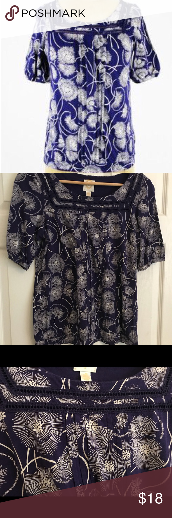 f92273c157f38 Anthropologie Ric Rac Purple & White Floral Tee Anthropologie Purple floral  top. Short sleeves. White flowers. Excellent condition. Smoke and pet free  home.