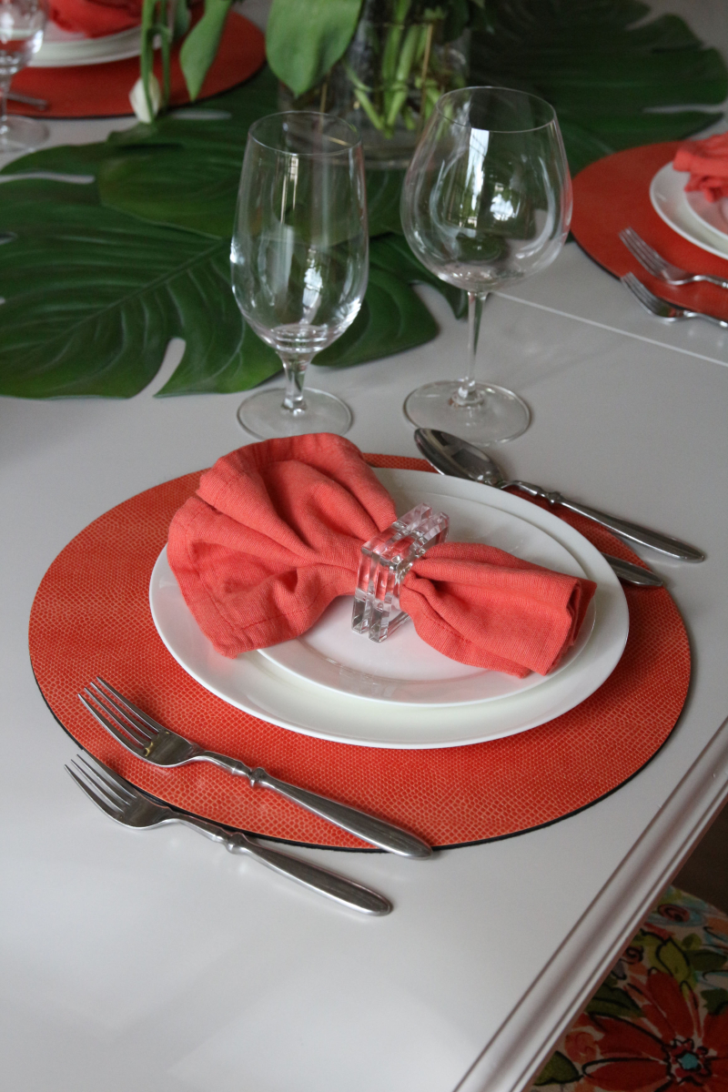 Coral Felt Backed Placemats From Caspari Used With Island Accents Placemats Table Decorations Home Decor