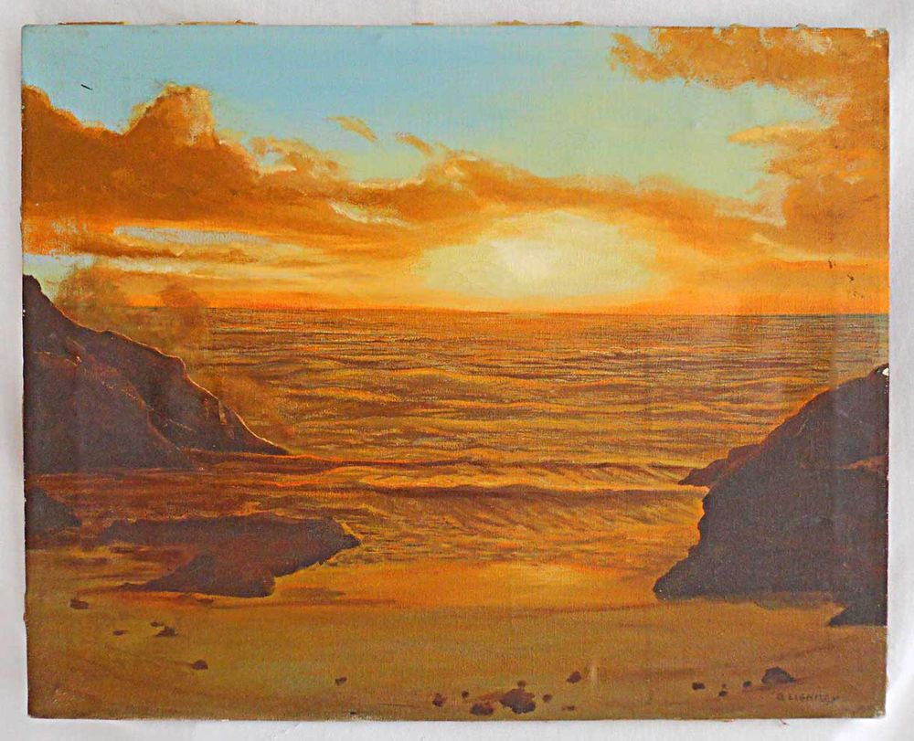 Seascape Western Vintage Painting Sunset Pacific Ocean Cove Surfing D Lightsey #realism