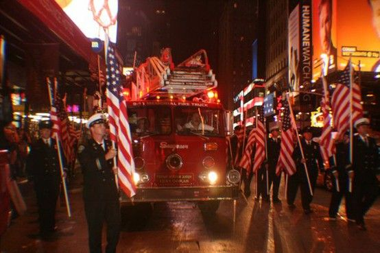 San Miguel/Heartland Fire Fighters from San Diego honored the fallen during a ceremony in Times Square.  10th Anniversary of 9/11 - Photo by Amy Laurel Hegy @A Tale of Two Tramps