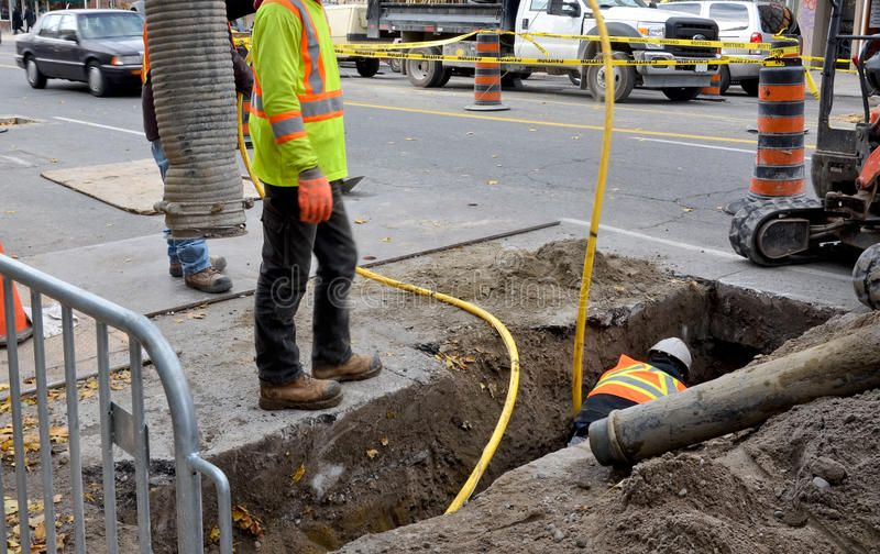 Upgrade to infrastructure. Repair to gas supply in urban setting ,