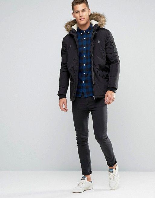 ff6f6d9e79aa3 Brave Soul Parka Jacket with Faux Fur Trim Hood