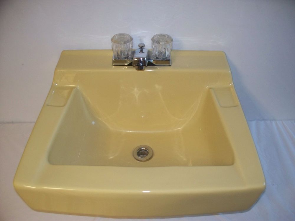 Wall Mount Sink Vintage Yellow Bathroom Gerber With Chrome Legs Low Mounted