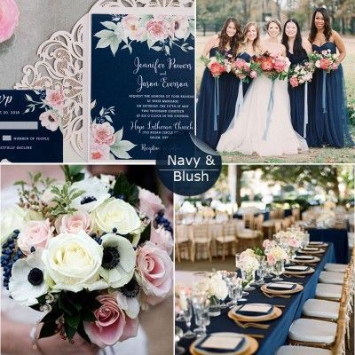 Gorgeous navy blue and blush pink floral watercolor wedding invitation EWDK002