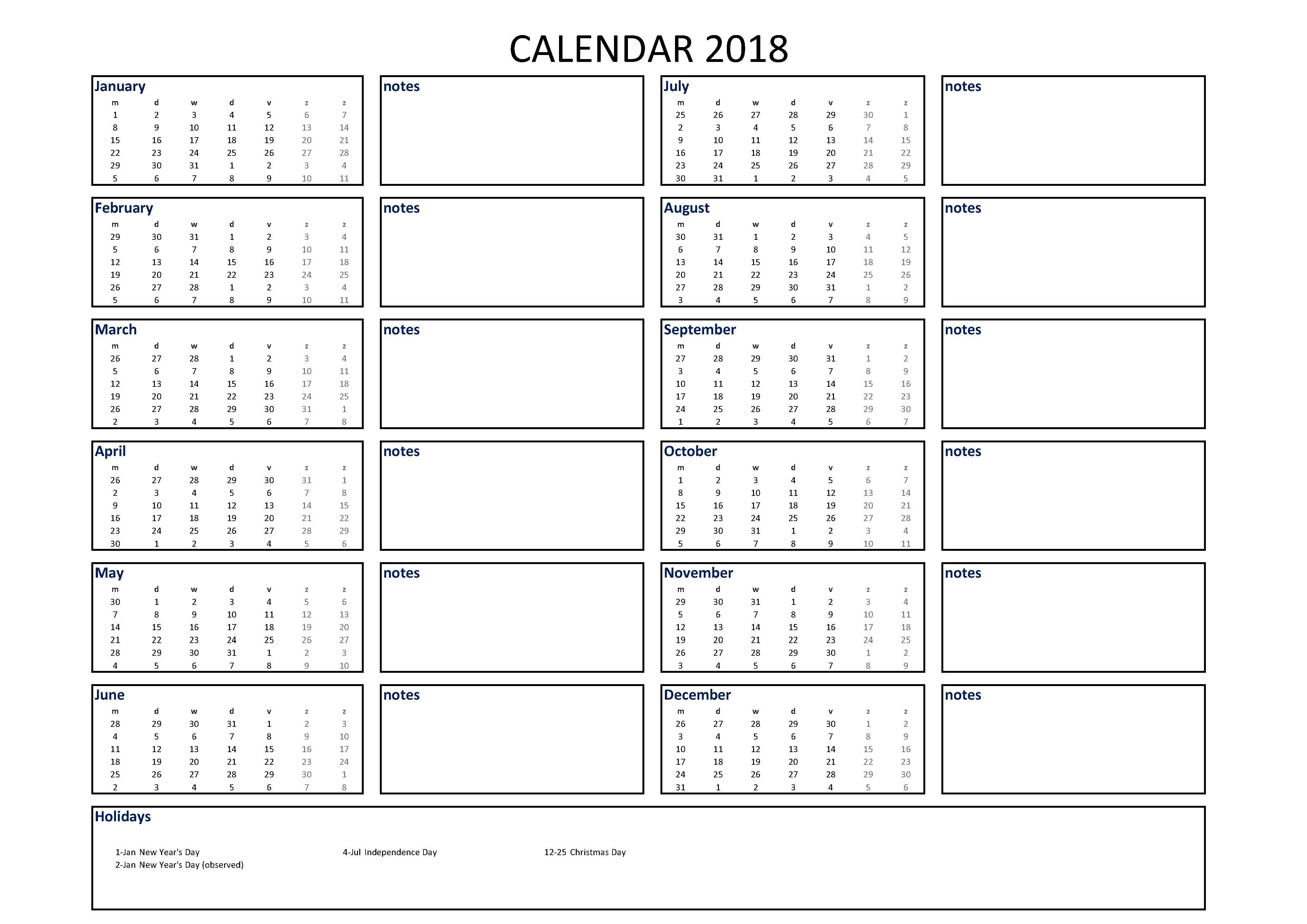 Calendar Excel A4 Size With Notes