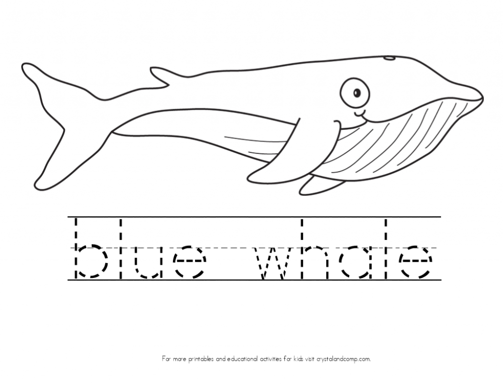 Kid Color Pages Blue Whale With Handwriting Practice For Kids