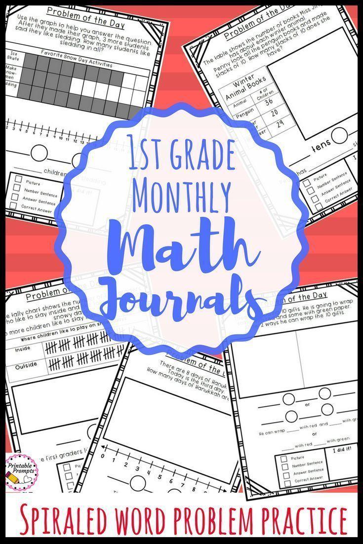 First Grade Monthly Math Journals - Spiraled Word Problem Practice ...