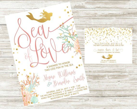 mermaid bridal shower invite detail card